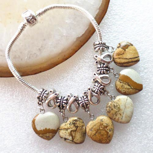 7.5' Heart (picture jasper - Mixed Gemstone Heart Fit European Silver Snake Chain Charm Bracelet 7.5''XLZ-246)