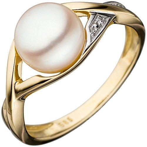 Bague bague pour femme avec perle perle d'eau douce blanc en or jaune 585bicolore