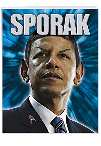 BIG Happy Birthday Greeting Card with Envelope (8.5 x 11 Inch - Extra Large) - Hilarious Sporak President Barack Obama - Funny Bday Gift for Star Trek and Space Lovers - Made In USA J9720 -