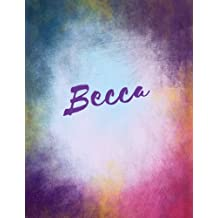 Becca: Becca personalized sketchbook/ journal/ blank book. Large 8.5 x 11 Attractive bright watercolor wash purple pink orange & blue tones. Cool elegant Lettering.
