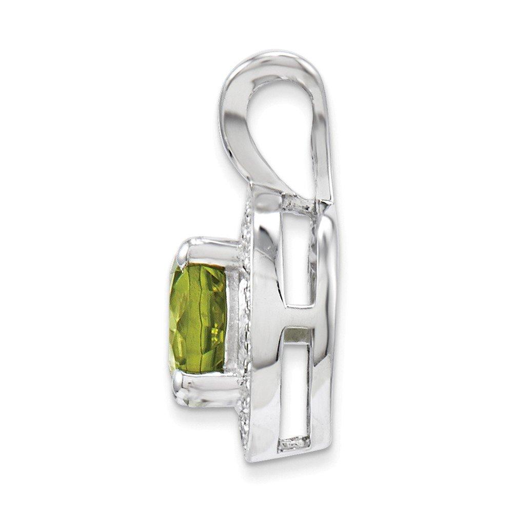 Mia Diamonds 925 Sterling Silver Diamond and Peridot Pendant 14mm x 10mm