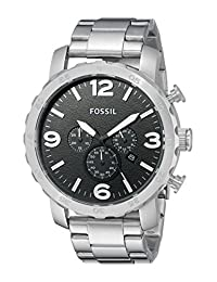 Fossil Men's JR1353 Nate Silver-Tone Stainless Steel Chronograph Watch