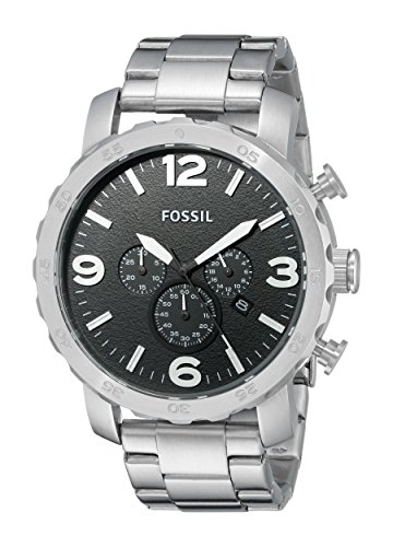 Fossil White Silver Dial (Fossil Men's Nate Quartz Stainless Steel Chronograph Watch, Color: Silver-Tone (Model: JR1353))