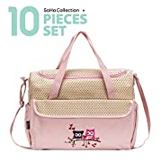 SoHo diaper bag Owls 10 pcs set nappy tote bag large capacity for babg mom dad stylish insulated unisex multifunction waterproof includes changing pad stroller straps Pink