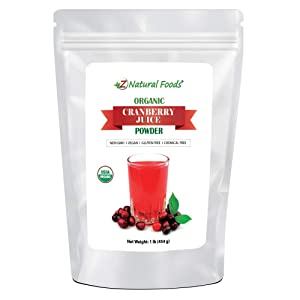 Organic Cranberry Juice Powder - Superfood Berry Drink Mix Supplement - Mix In Smoothies, Shakes, Tea, Cooking & Baking Recipes - Non GMO, Gluten Free, Vegan, Kosher - 1 lb