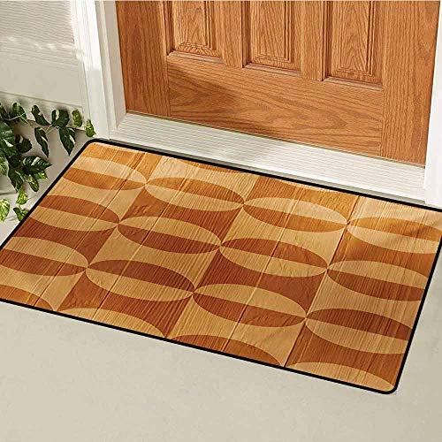 (GUUVOR Rustic Welcome Door mat Abstract Style Oak Plank Pattern with Tiled Bound Lines and Oval Curves Image Door mat is odorless and Durable W47.2 x L60 Inch Orange and Tan)