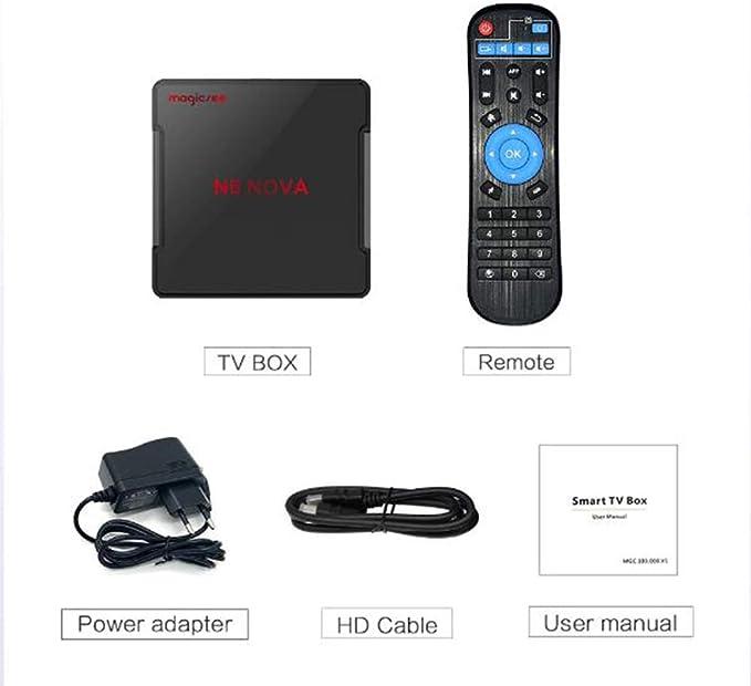 Android 9.0 TV Box, 1080P 3D HDMI Smart TV Box 4GB RAM 64GB ROM , Compatible Con Wifi De Doble Banda 5G 2.4G / H.265 4K HDR, Reproductor Multimedia USB 3.0 HDMI