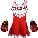 Cherry-on-Top Cheerleader Fancy Dress Outfit Uniform High School Musical Costume with Pom Poms Red Cheerleader, Extra Small by