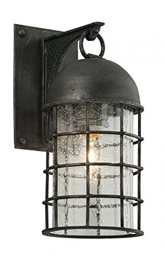 Troy Lighting Charlemagne 1-Light Outdoor Wall Light - Aged Pewter Finish with Clear Seedy Glass Shade