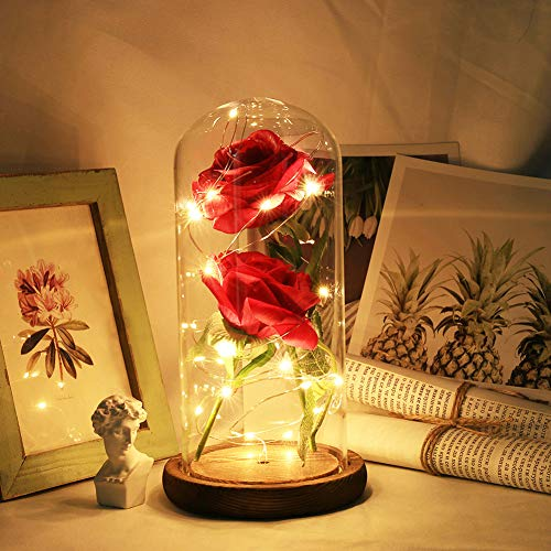 IsEasy Beauty and The Beast Rose Kit Red Rose Flower LED Light in Glass Cover Dome on Wooden Base for Home Decor Holiday Party Wedding Anniversary ()