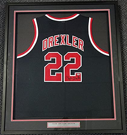 Image Unavailable. Image not available for. Color  Clyde Drexler  Autographed Portland Trailblazers Black Framed Jersey ... ae10f3ce5