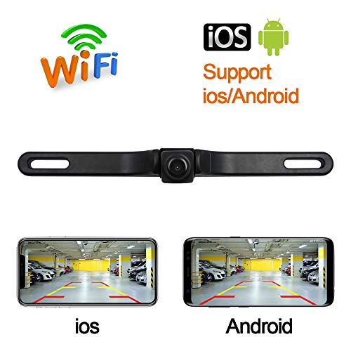 Fumei HD 720p License Plate WiFi Camera Wireless Backup Camera for Car with Smart APP Intelligent Video Recording/Sharing Forward-Looking Camera Compatible with Android and iPhone/iPad