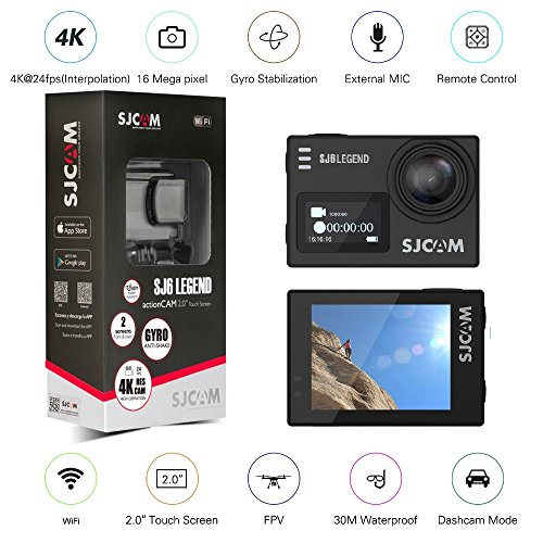 Orignal SJCAM SJ6 LEGEND Dual Screen 2″ LCD Touch Screen 2880×2160 Novatek NT96660 Panasonic MN34120PA CMOS 4K Ultra HD Sport DV Action Camera Black+extra 1 battery by SJCAM