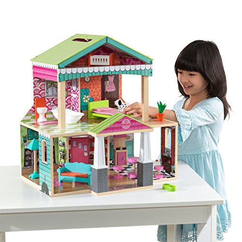 (Pacific Bungalow Dollhouse with 14-piece accessory kit included by KidKraft)