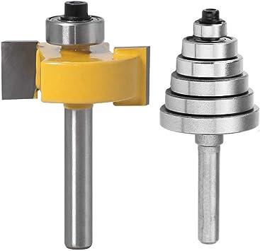 "Adjustable Carbide Rabbet Router Bearings Bit Tool with 6 Bearing 1//2/""1//4/"" Shank"