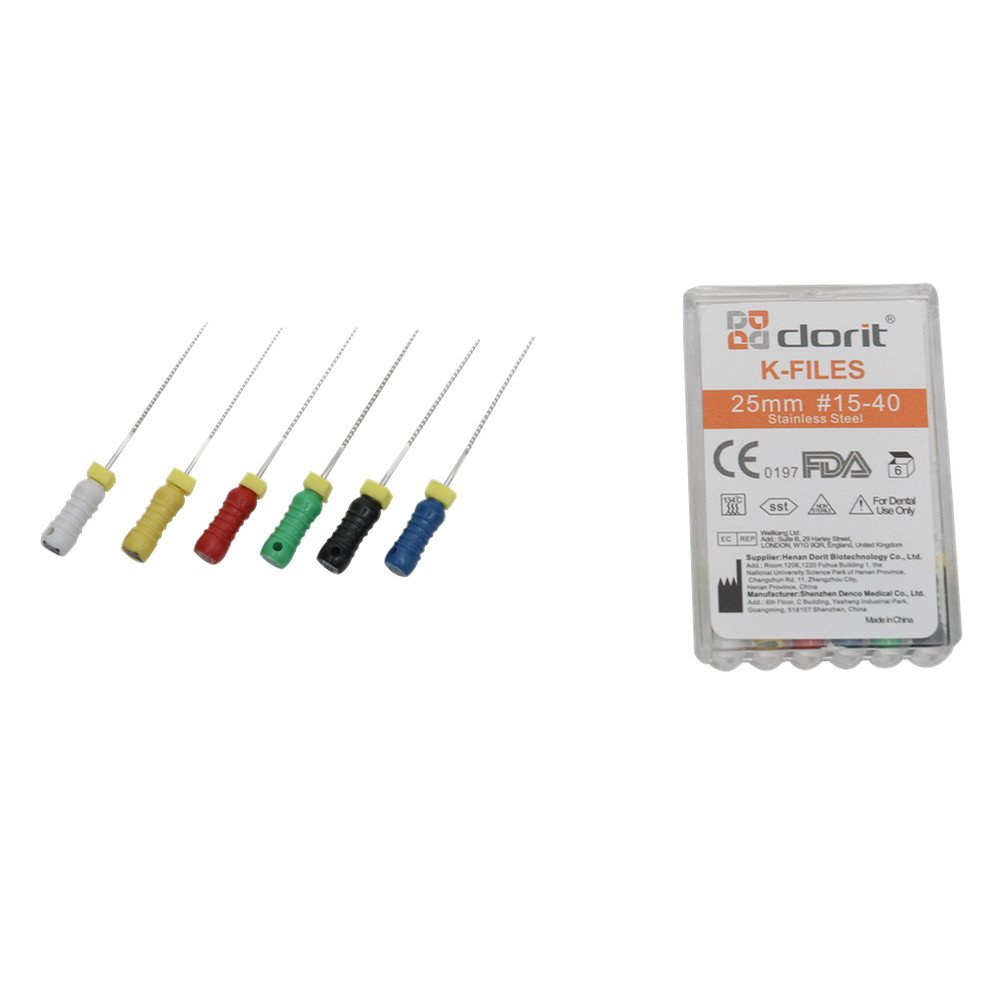 Dorit Hope Hand Use K Files, 15-40, Six color per pack, Stainless Steel material, Length 25mm, 6 pcs per box (10)