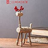 Bwlzsp 1 PCS American country vintage soft clothing shop hotel coffee shop model room decoration solid wood lovers deer pieces LU707436 (Color : B)