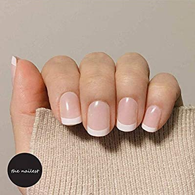 Uñas Postizas,Natural Francés Nails,24Pcs Mate Brillante Rosa ...