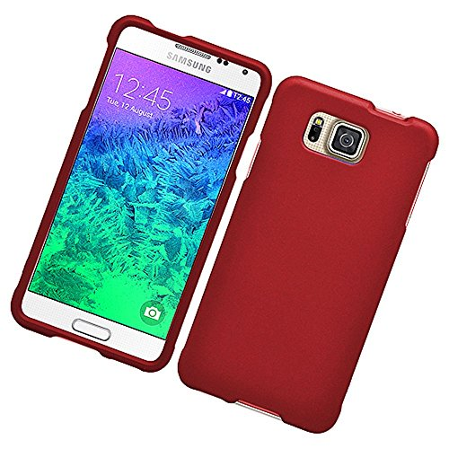 Galaxy Alpha Case, Eagle Cell Rubberized Hard Snap-in Case Cover For Samsung Galaxy Alpha SM-G850A (ATT)/SM-G850T (T-Mobile), Red (Snap Rubberize Red)