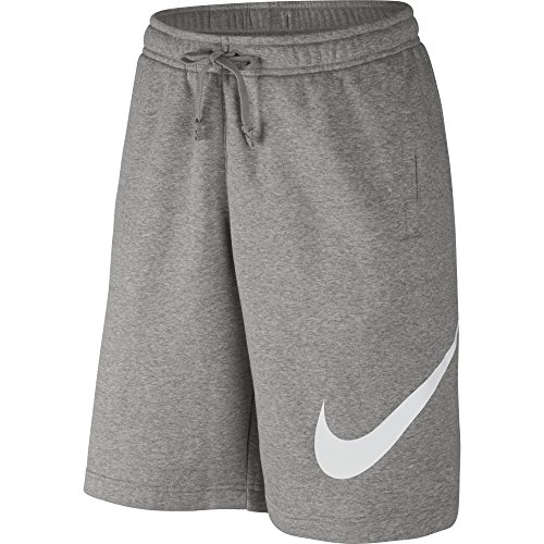 NIKE Sportswear Mens Club Shorts, Dark Grey Heather/White, Medium