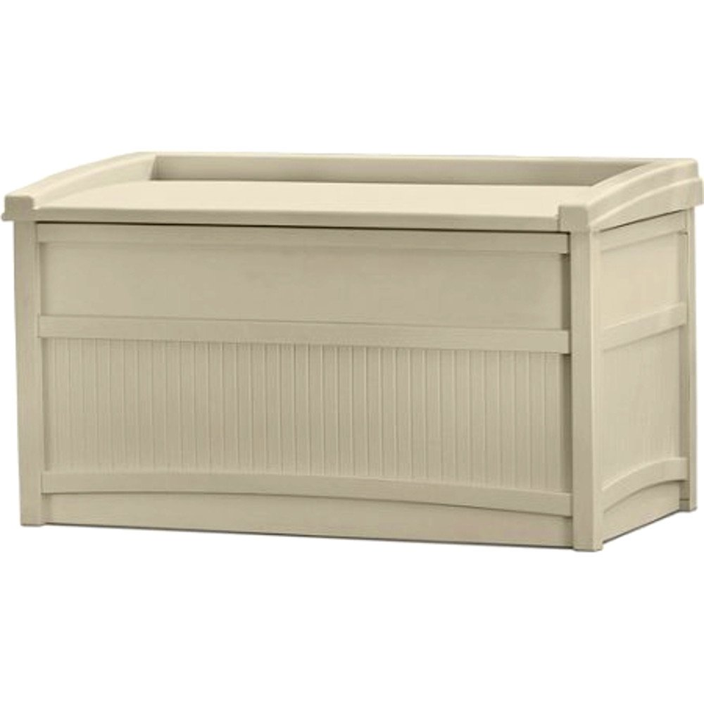 EFD Resin Storage Bench Patio Storage Deck Box Rectangular Plastic Big Light Taupe Color Lawn Garden Backyard Weatherproof Resistant Seat Slatted Design & eBook by Easy&FunDeals by EFD