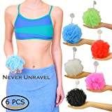 suction Star NEVER UNRAVEL Bath Sponge 6 Counts | 60g Heavy Bath Mesh Pouf with Suction Cup | Big Shower Sponge and Loofahs | Long Lasting Bathing Exfoliator and Body Scrubbers (60g x 6 Pieces, 6 Colors)