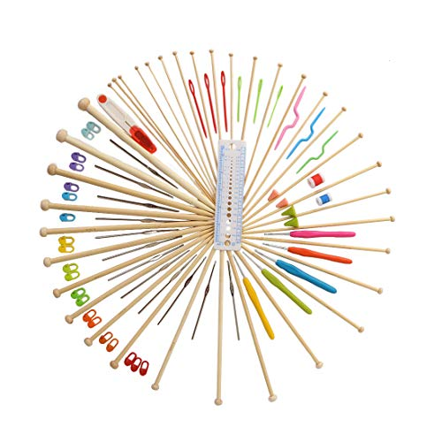 94 Pieces Crochet Hooks & Knitting Needles Set Kit - Portable Case, Contains All The Kntting & Crochet Accessories Fit Any Projects, Ideal Gift for Mom Grandma Girfriend by Akacraft (Image #1)