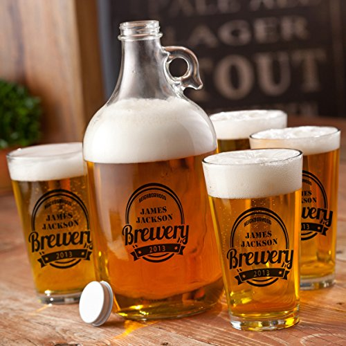 Personalized Growler Set 64 oz with 4 Pub Glasses 16 oz - Monogrammed Pub Glasses- Custom Beer - Custom Glasses Pub