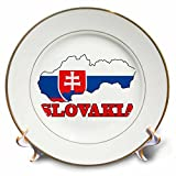 3dRose cp_63202_1 The Flag of Slovakia in The Outline Map of The Country and Name, Slovakia Porcelain Plate, 8-Inch