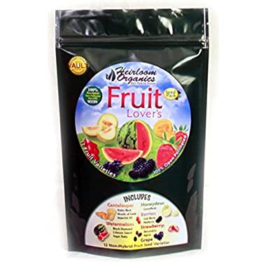 Heirloom Organics NON-GMO Fruit Lover's Seed Pack - 12 Varieties Non-Hybrid Fruit Seeds - Hermetically Sealed for Long Term Storage