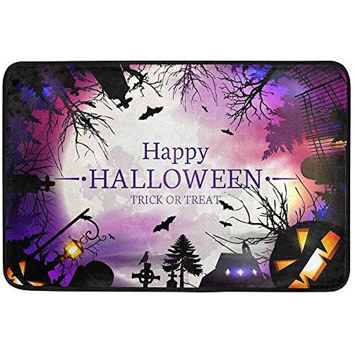 Staromia Vintage Happy Halloween Full Moon Castle Boo Forest Non Slip Doormat Doormats Area Rug for Entrance Way Front Door Indoor Outdoor 23.6 by 15.7 Inches 40 x 60 cm