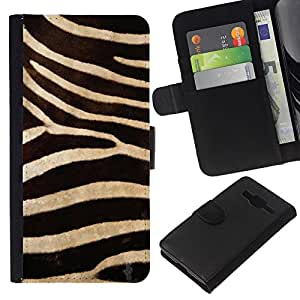 Planetar® Modelo colorido cuero carpeta tirón caso cubierta piel Holster Funda protección Para Samsung Galaxy Core Prime / SM-G360 ( Modelo de la cebra Wallpaper Diseño Textil )