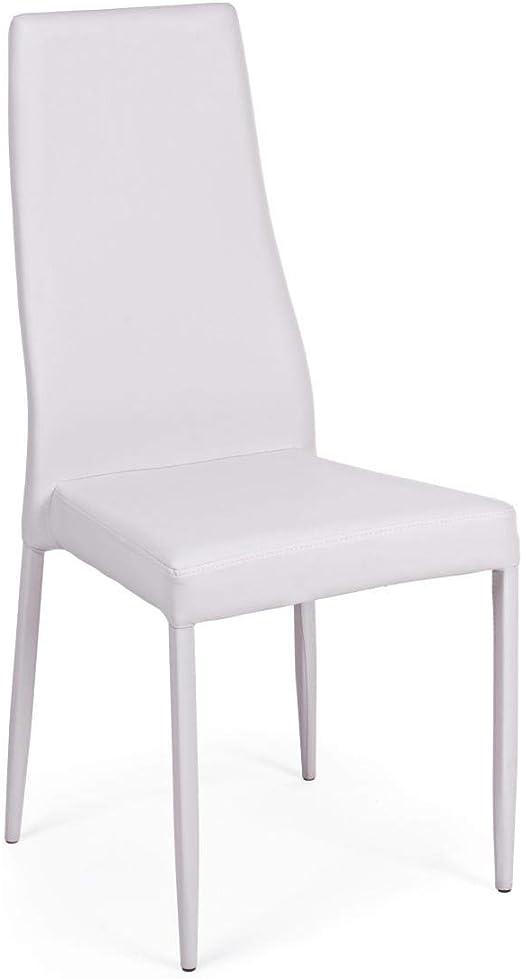 ARREDinITALY Lot 4 chaises Pieds et Assise Simili Cuir Gris