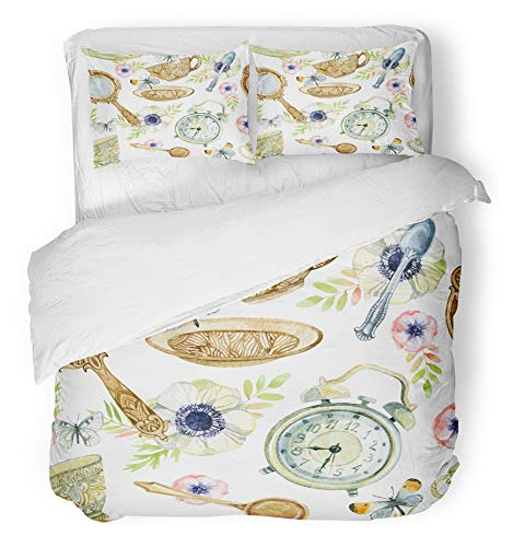 Emvency 3 Piece Duvet Cover Set Breathable Brushed Microfiber Fabric Watercolor Tea Cup with Spoon Mirror Alarm Clock Flowers and Butterfly Crockery Bedding Set with 2 Pillow Covers Twin Size by Emvency