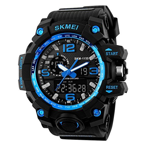 Gosasa Men's GOSK1155B S Shock Digital Quartz Black (Blue Shocks)