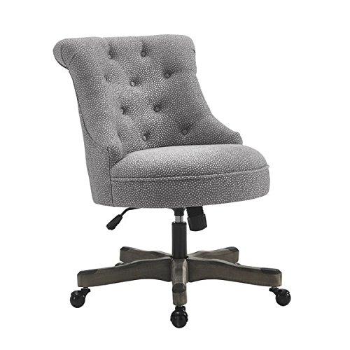 Mid-Back Desk Chair Gray Wash Wood Base Metal Castors Gas Lift Mechanism and Castors Swivel Frame Material is Wood - 19' Caster Base