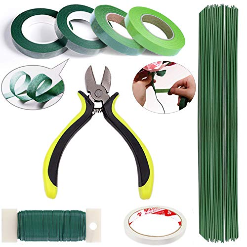 ZISUEX Floral Arrangement Kit Floral Tools Bouquet Stem Wrap Florist Wire Cutter Green Floral Tapes 26 Gauge Wire 22 Gauge Paddle Wire for Artificial Flowers Women Gift (Green, Floral Arrangement Kit)