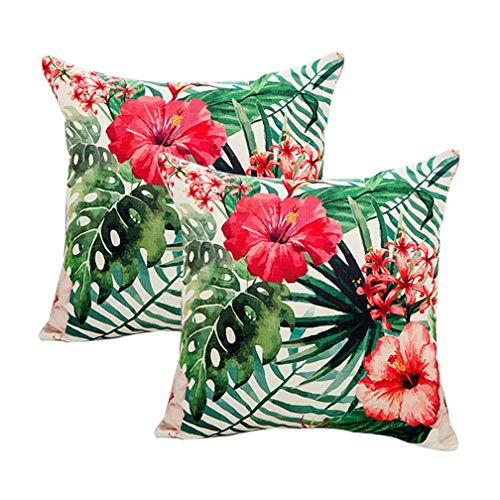 7ColorRoom 2pack Flower Throw Pillow Covers Tropical Leaves Home Decorative Throw Pillow Covers 18