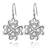 JUFU Women's Good Luck Jewelry Gift 925 Sterling Silver Celtic Knot Drop&Dangle Earrings Dangles(Silver) (Silver)