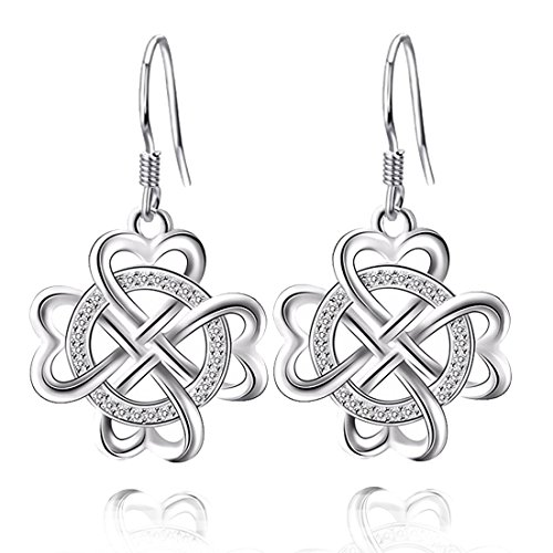 18k White Gold Celtic Knot (JUFU Women's Good Luck Jewelry Gift 925 Sterling Silver Celtic Knot Drop&Dangle Earrings Dangles(Silver) (Silver))