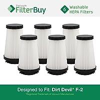 6 - FilterBuy Dirt Devil F2 (F-2) Replacement Filters. Designed by FilterBuy to Replace Dirt Devil Part #s 3SFA11500X & 3-F5A115-00X.