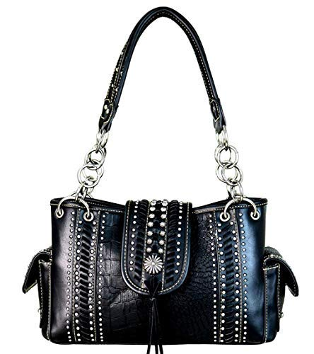 (Montana West Handbags Western Concho with Tassel Croc Print Purses (Black))