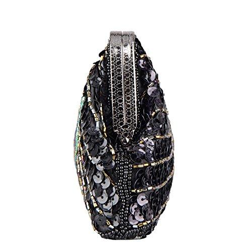 main rétro fête pour main la embrayage femmes Kaever à Les sac de mariage à Sequin sac sac d'embrayage Noir Peacock 4xwvfqp