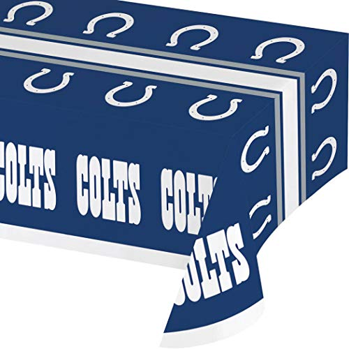 N2 54 X 102 Inch NFL Colts Tablecloth, Football Themed Rectangle Table Cover Sports Patterned, Team Color Logo Fan Merchandise Athletic Spirit Blue White, Plastic ()