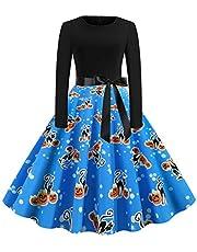 Party Dress for Women,Vintage Long Sleeve Halloween 50s Housewife Evening Party Prom Dress Wokasun.JJ(Blue,M)