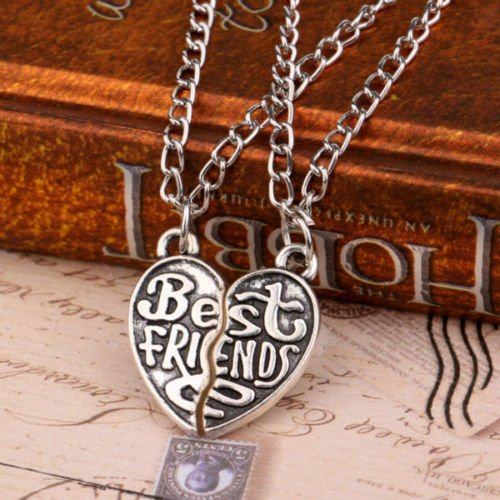 2P Broken Heart Yin Yang Charm Chain Pendant Necklace BFF Best Friend Birthday Beat Friend