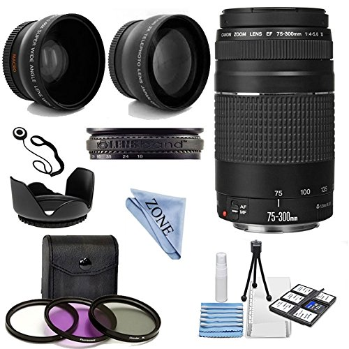 Wide Angle Lens Kit - Canon EF 75-300mm f/4-5.6 III Telephoto Zoom Lens Kit with 2X Telephoto Lens, HD Wide Angle Lens and Accessories bundle & linen zone cloth