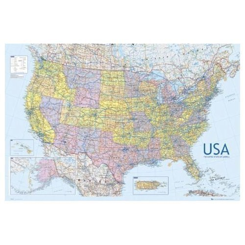 United States Of America USA Large Wall Map Educational Poster - Large us road wall map