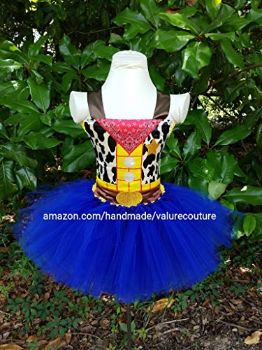 Toy Story Woody Cowboy Inspired Tutu Dress Costume Pageant Birthday Halloween Girls Newborn Infant Toddler Baby Outfit Onesie Shirt Bow Party Princess Kids Gift Topper (Halloween Fashion Story)