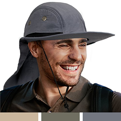 SUN CUBE Fishing Sun Hat For Men With Neck Cover Flap, Wide Brim Bill Shade, Adjustable Fit Chin Strap For Outdoor, Hiking, Safari, Hunting | Summer UPF 50+, Breathable Mesh| Packable Cap (Gray) (Zip Cap Side)